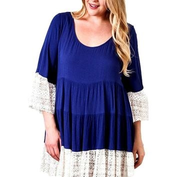 Curvy Lace Bell Peasant Dress, Ink Blue
