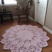 Pale Pastel Pink Doily Lace Rug, Crochet Nursery Area Rug, Shabby Rustic, Cottage Chic Rug, Carpet, Baby Girl mat, round floor geometric rug