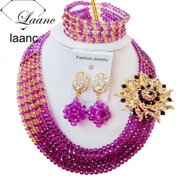 Laanc Brand Purple and Gold African Beads Jewelery Sets for Women Wedding Nigerian Necklace and Earrings CB5R009