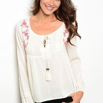 Women Fashion Ivory Peasant Style Top Shirt Hi-Low Blouse Floral Embroidered Tassels Relaxed Fit Casual Boho Style