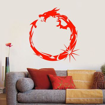 Vinyl Wall Decal Circle Dragon Infinity Symbol Fantastic Beast Stickers (2939ig)