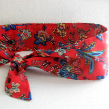 Hair Bandana - Rockabilly -SALE- Hair Scarf - RED - Bandana Headband - PinUp Bandana - BOHO Hairband - Fabric Headband -  Women Teens