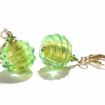 Murano Glass Green Saturn Rings Gold Earrings, Leverback Earrings