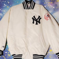White New York YANKEES Baseball Majestic Starter Style Jacket Size L