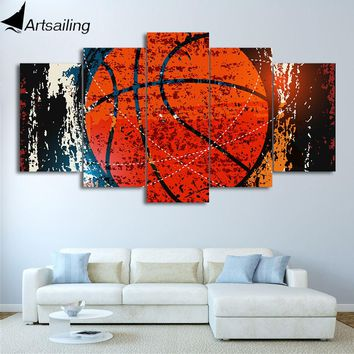HD Printed 5 Piece Canvas Art Abstract Red Basketball Painting Wall Pictures Gym Poster Modular Painting Free Shipping CU-2335C