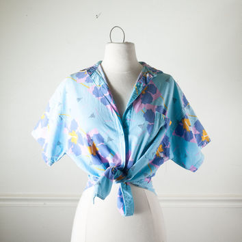 Vintage 80s Tie Front Blouse | Avant Garde New Wave Retro Abstract Boho Chic Festival Top Crop Top 80s Top Pin Up Top Hawaiian Button Down