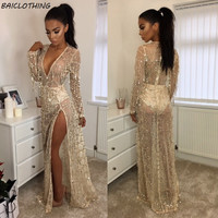BAICLOTHING Bling Bling Sequins Tassel Bikini Cover up women summer long Dress Long Sleeve Women Swimsuit Beach Cover Ups