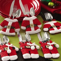 Set of 6 Christmas Santa Claus Silverware Cutlery Holder Pockets Dinner Decor [8384198151]