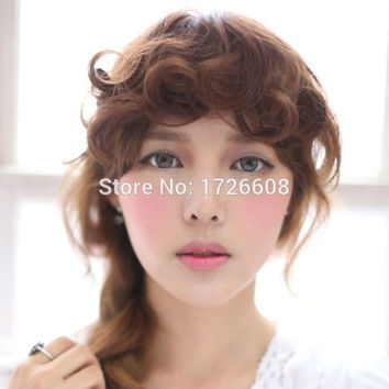 Curly Synthetic hair bang extensions Clip in hair fringe Put on hairpieces hair accessories