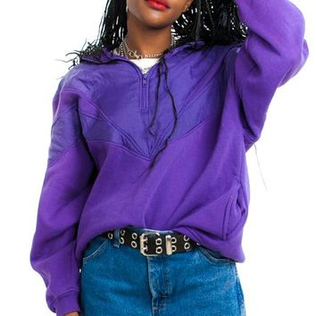 Vintage 80's Purple Windbreaker Sweatshirt - One Size Fits Many