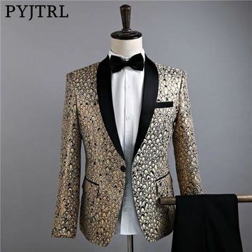 PYJTRL Mens Black Shawl Collar Gold Jacquard Scale Pattern Slim Fit Suits Wedding Groom Stage Singer Latest Coat Pant Designs