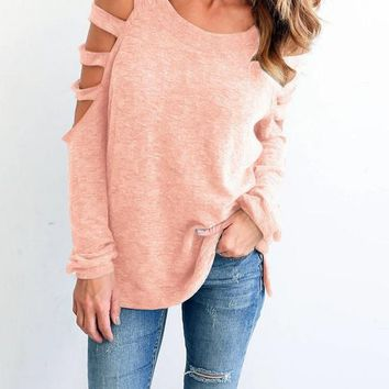 Pink Plain Cut Out Off Shoulder Casual Cotton T-Shirt