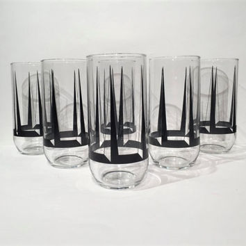 Black Geometric Drinking Glasses Set of 6, Art Deco Tumblers, Mid Century Bar Glasses, Mad Men Retro Barware, Bar Cart Cocktail Glasses