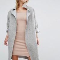 Parallel Lines Cocoon Coat With Textured Fabric With Raw Edge