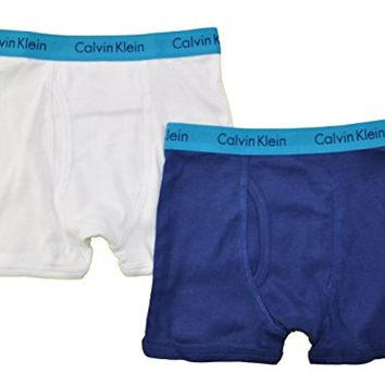 Calvin Klein Little/Big Boys' Assorted Boxer Briefs (Pack of 2) (Medium / 8-10, White/Blue)
