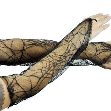 Black Spider Web Lace Gothic Elbow Gloves