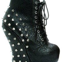 Bettiepage Belladona Punk Rock  Curve Wedge Laced Up Spiked Stud Ankle Bootie (7,Leopard)