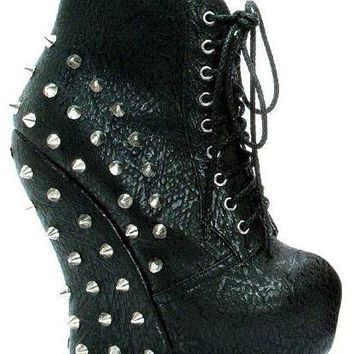 Bettiepage Belladona Punk Rock  Curve Wedge Laced Up Spiked Stud Ankle Bootie (6,Black PU)