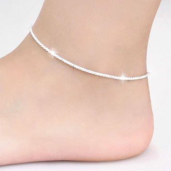 Trendy Silver Plated Hemp Rope Chain Bracelet Anklet Women Jewelry 21CM Silver Foot Jewelry For Women SM6
