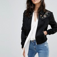 River Island Embroidered Suedette Trucker Jacket at asos.com