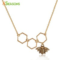 STYLEDOME Honeycomb Bee Pendants Hollow For Women
