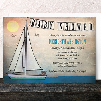Nautical Baby Shower Invitations - Rustic Teddy Bear Sailboat - Printed Invitations
