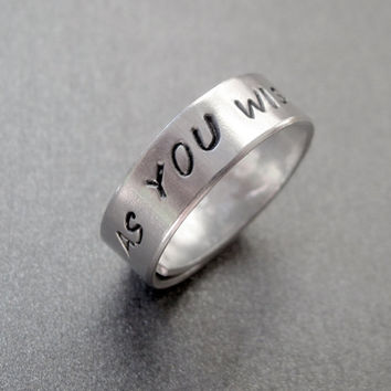 Princess Bride Inspired Skinny Ring  As You Wish  by emerydrive