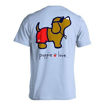 Lifeguard Pup Short Sleeve Tee in Light Blue by Puppie Love
