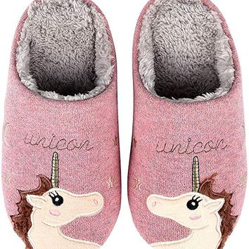 Unicorn House Slippers Cute Animal Family Indoor Slippers Waterproof Sole Fuzzy Clog Slippers Unicorn Misspelled