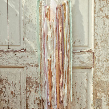 Boho Dreamcatcher, Pastel, Shabby Chic, Vintage Lace, Bohemian Wall Hanging, Gypsy, Mint, Wedding Gift, Boho Chic Home Decor, Dream Catcher