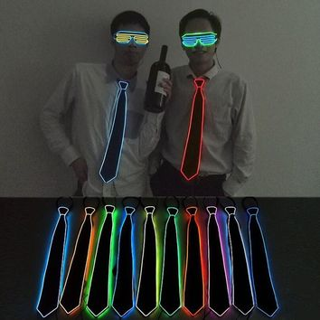 Creative El-Wire LED Neon Flashing Glowing Glow Flash Necktie  Rave Festival Party Halloween Light Up