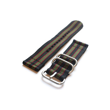 "Smart Watch Strap Black Red and Green ""James Bond"""