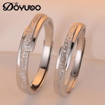 DOYUBO Original CZ Engagement Couple Rings Set For Lovers Real 925 Sterling Silver Fashion Wedding Rings For Men And Women VB242