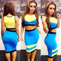 Yellow and Blue Sleeveless Cropped Top and Midi Skirt