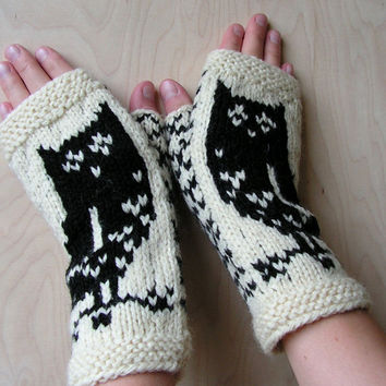 Hand knitted wool Women fingerless gloves with Owls White Black