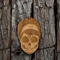 Lasercut Wood Zombie Girl Necklace