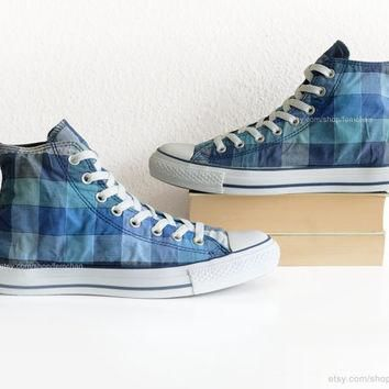 Blue check pattern Converse high tops, gingham All Stars, plaid print vintage sneakers