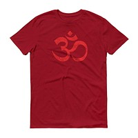 Om Ohm Yoga Symbol Distressed RED Short-Sleeve T-Shirt