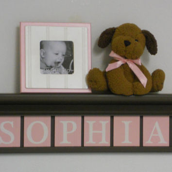 "PERSONALIZED Baby Girl Nursery Decor Wall Letters 5 Plaques for SOPHIA in Pastel Pink - 24"" Brown Shelf"