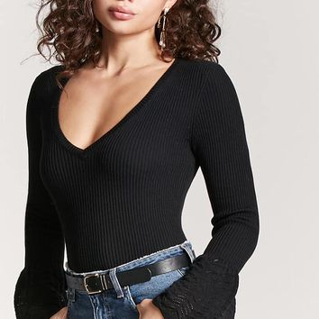 Ribbed Lantern Sleeve Top