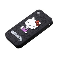 "Hello Kitty Embossed Black ""Flexa"" silicone case cover for Apple iPhone 4 4G 4S"