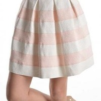 Birthday Cake High Waist Striped Skater Skirt in Blush Pink | Sincerely Sweet Boutique