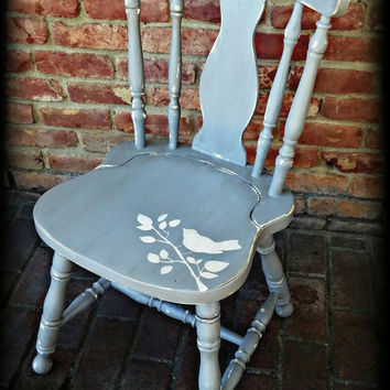 Vintage shabby chic chair, cottage chair, accent chair, bird stenciled chair, distressed, chippy chair, rustic chair, gray chair, chair