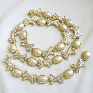 Vintage signed Nolan Miller Opalescent White Glass Pearls and Rhinestone Necklace and Bracelet Wedding or Bridal