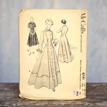 Vintage Princess Housecoat or Dress Sewing Pattern McCall's 8741, Size 12 Medium 1950s Fitted Button Through Long Dress
