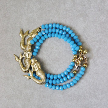 Mermaid bracelet, stacking bracelet, blue glass crystals, bell clasp