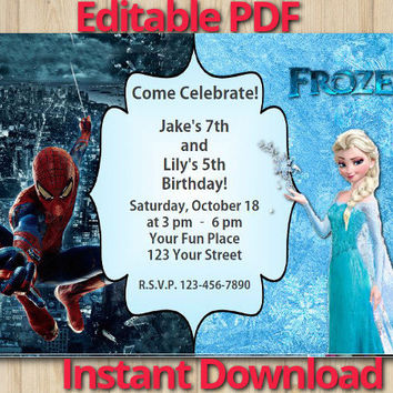 Joint Twins Invitation Editable Instant Download Customizable Disney Frozen / Spiderman birthday custom printable file DIY(#01)