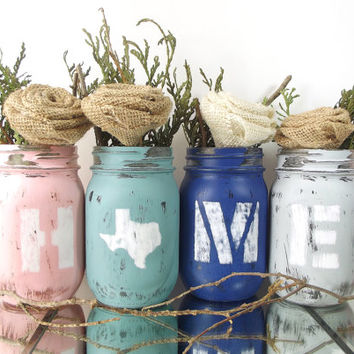 Texas Home Decor, State Pride, Texas State, Distressed Mason Jar Set, Texas Decor, New Home Gift, Rustic Home Decor, Tabletop Decor