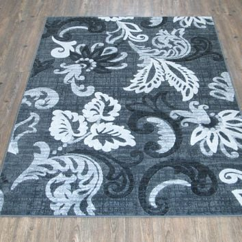 """Silver Grey Black Large Casual Faux Wool Area Rug Exact Size 5'4"""" X 7'5"""""""