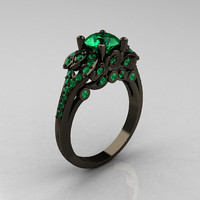 Classic 14K Black Gold 1.0 CT Emerald Blazer Wedding Ring R203-14KBGEM